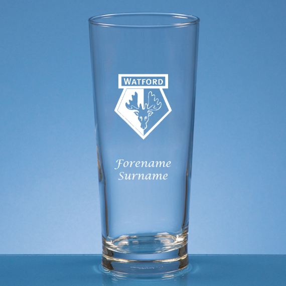 Watford FC Personalised Crest Straight Sided Beer Glass
