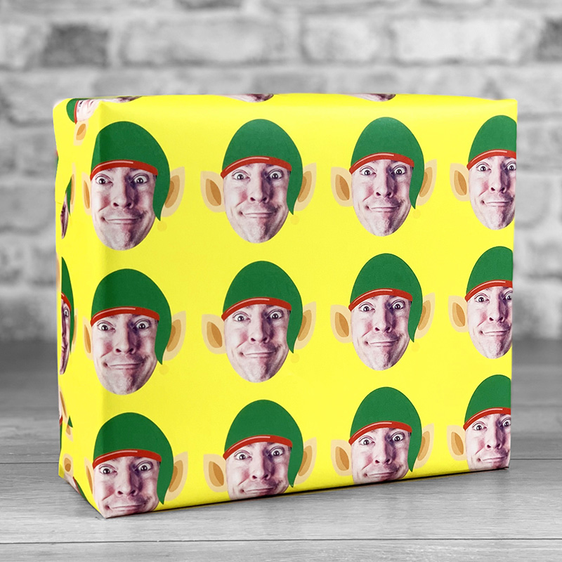 Elf Hat Yellow Gift Wrap with Face Upload