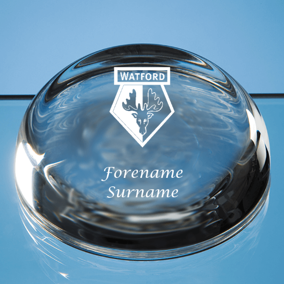 Watford FC Personalised Crest Optical Dome Paperweight