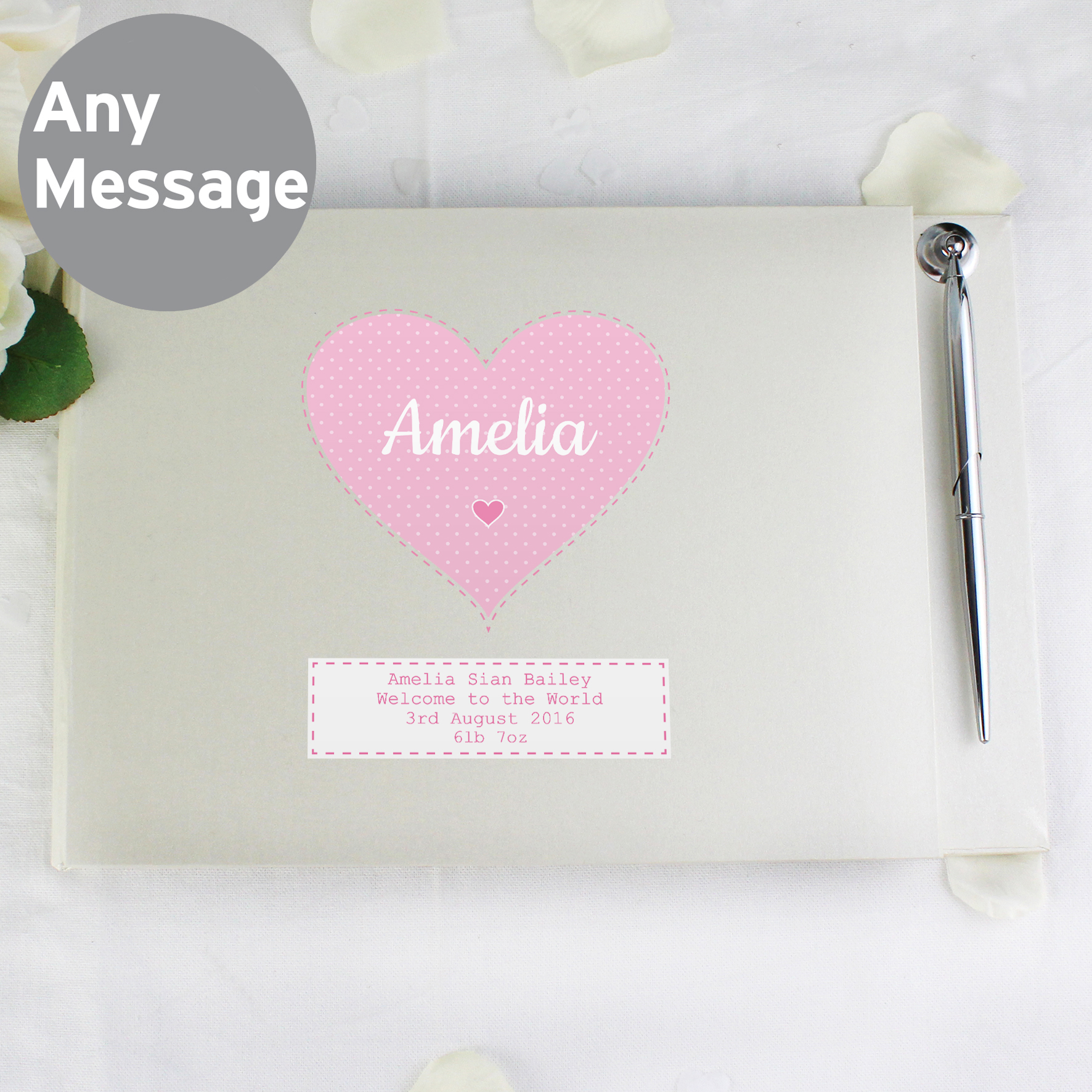 Personalised Stitch & Dot Girls Guest Book