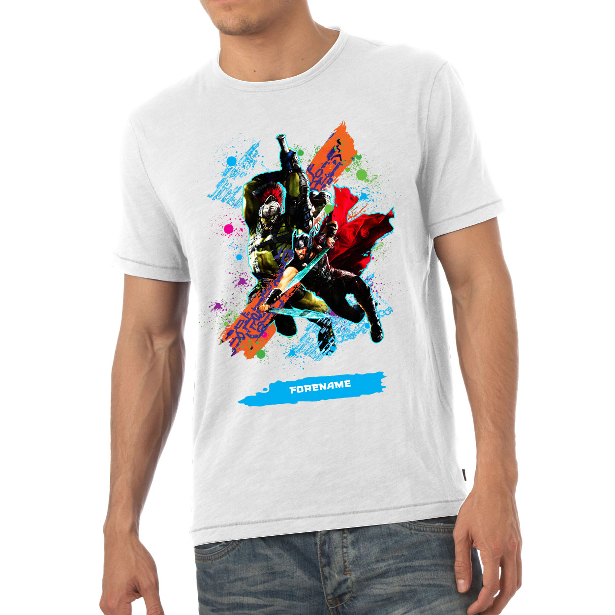Marvel Thor Ragnarok Colour Splash Mens T-Shirt