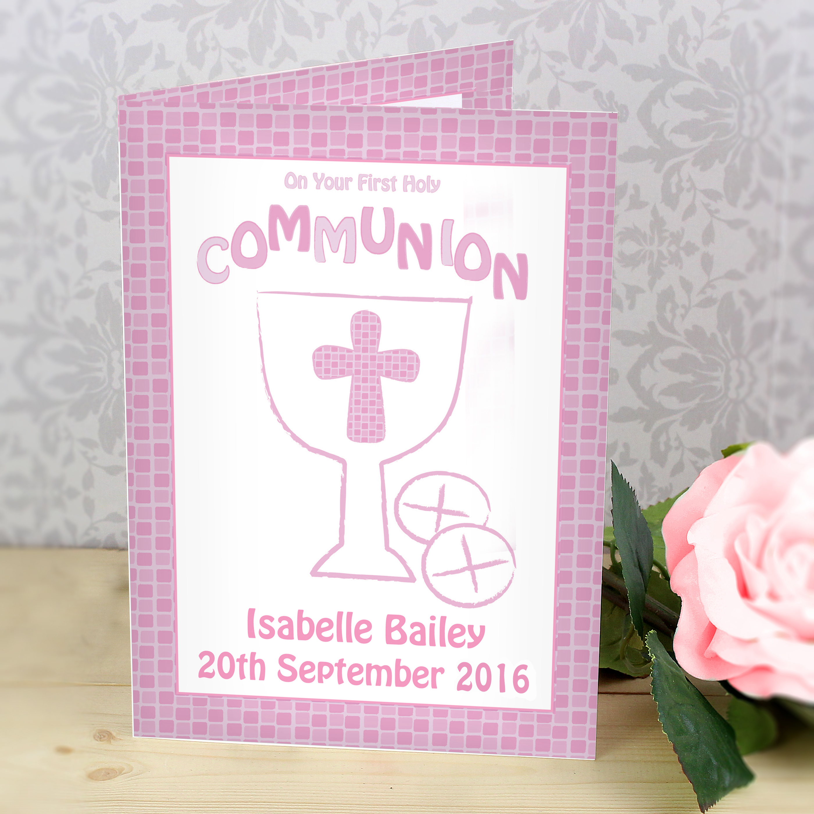 Personalised Pink First Holy Communion Card