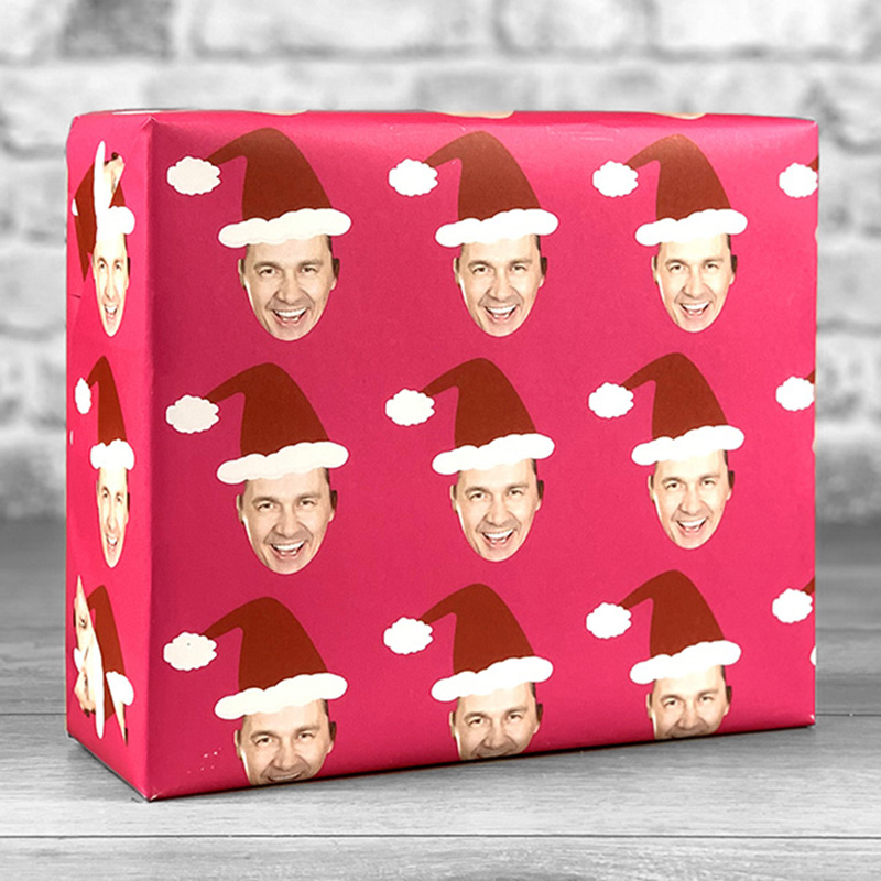 Santa Hat Fuchsia Gift Wrap with Face Upload