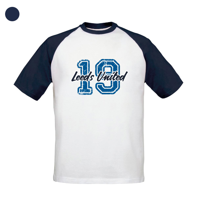 Leeds United FC Varsity Number Baseball T-Shirt