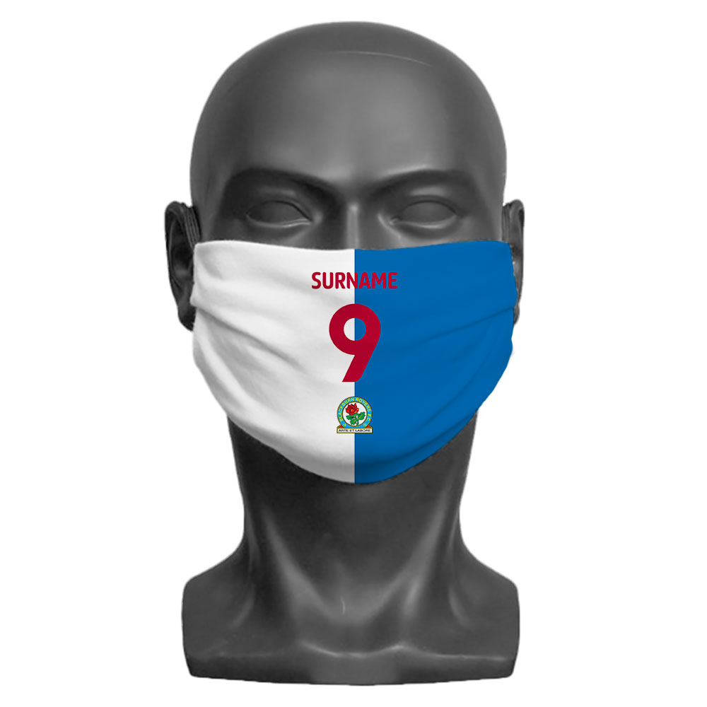 Blackburn Rovers FC Back of Shirt Adult Face Mask (Medium)