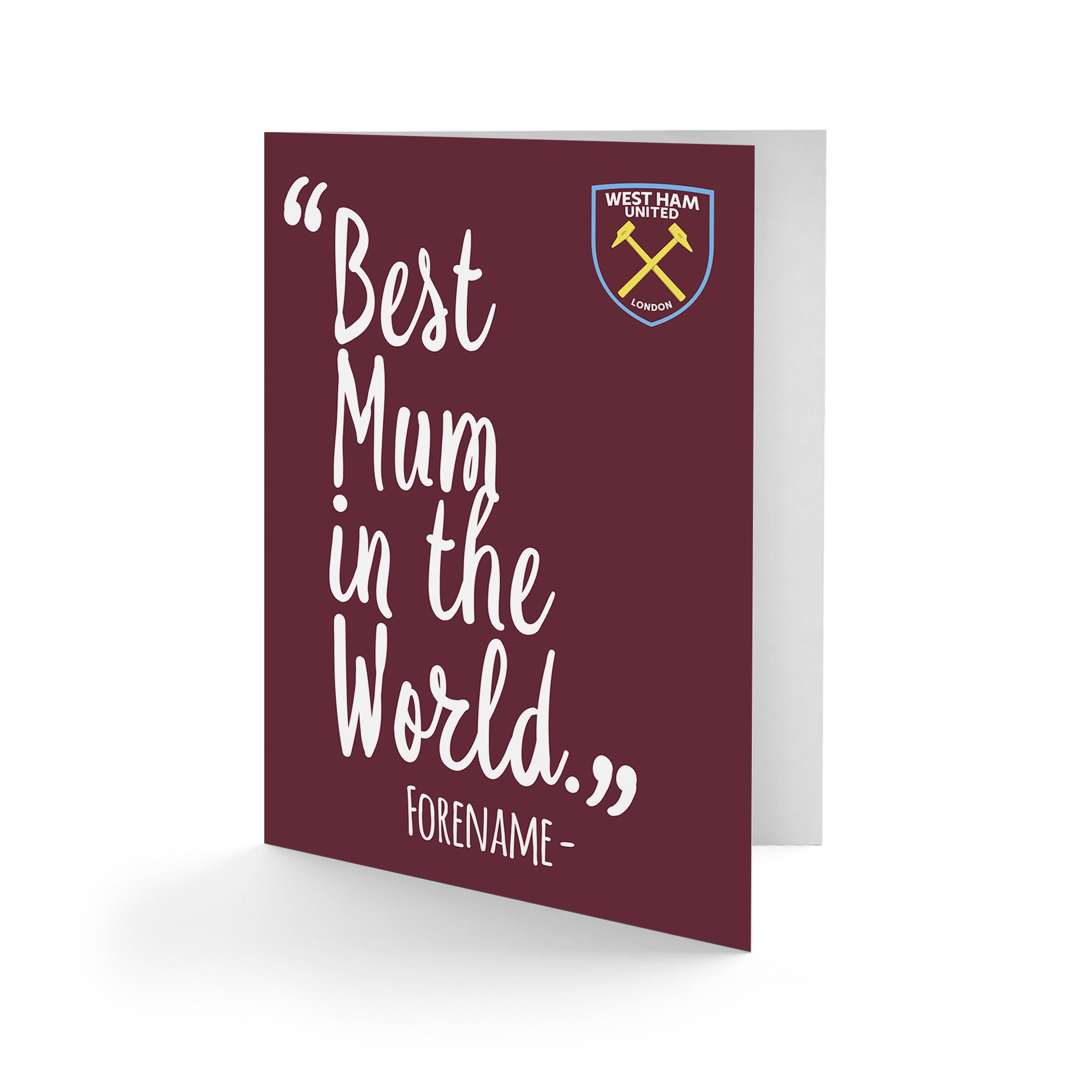 West Ham United FC Best Mum In The World Card