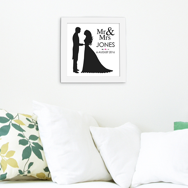 Framed 'Mr & Mrs' Print