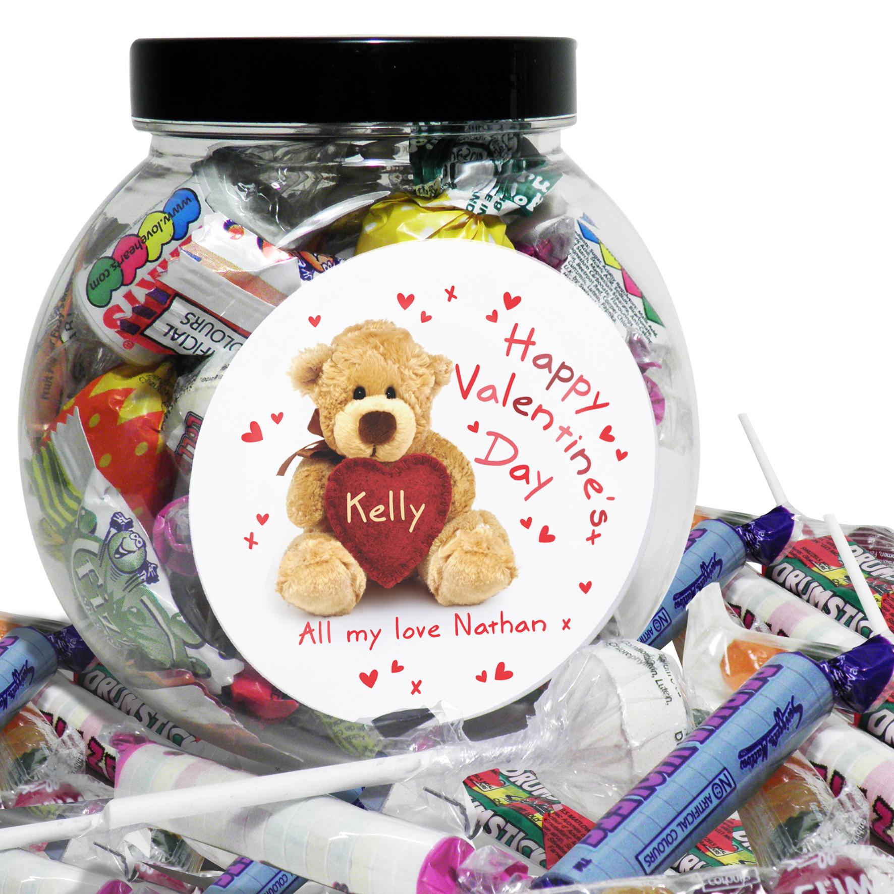 Personalised 'Teddy Heart' Sweet Jar