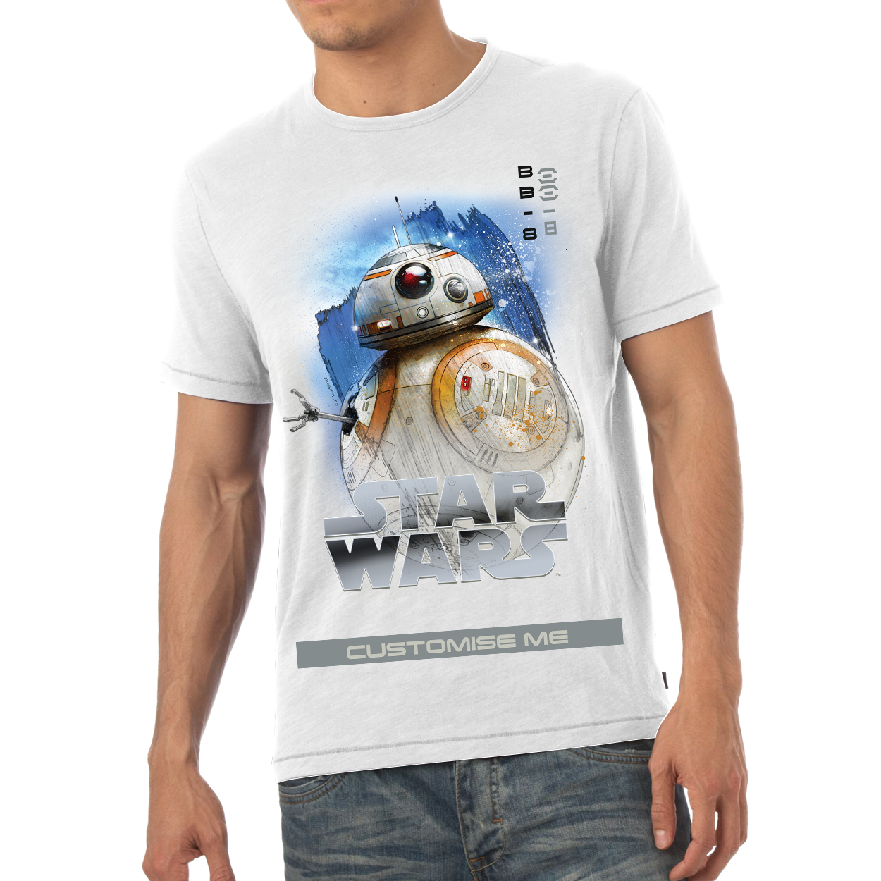 Star Wars BB-8 Last Jedi Spray Paint Mens T-shirt