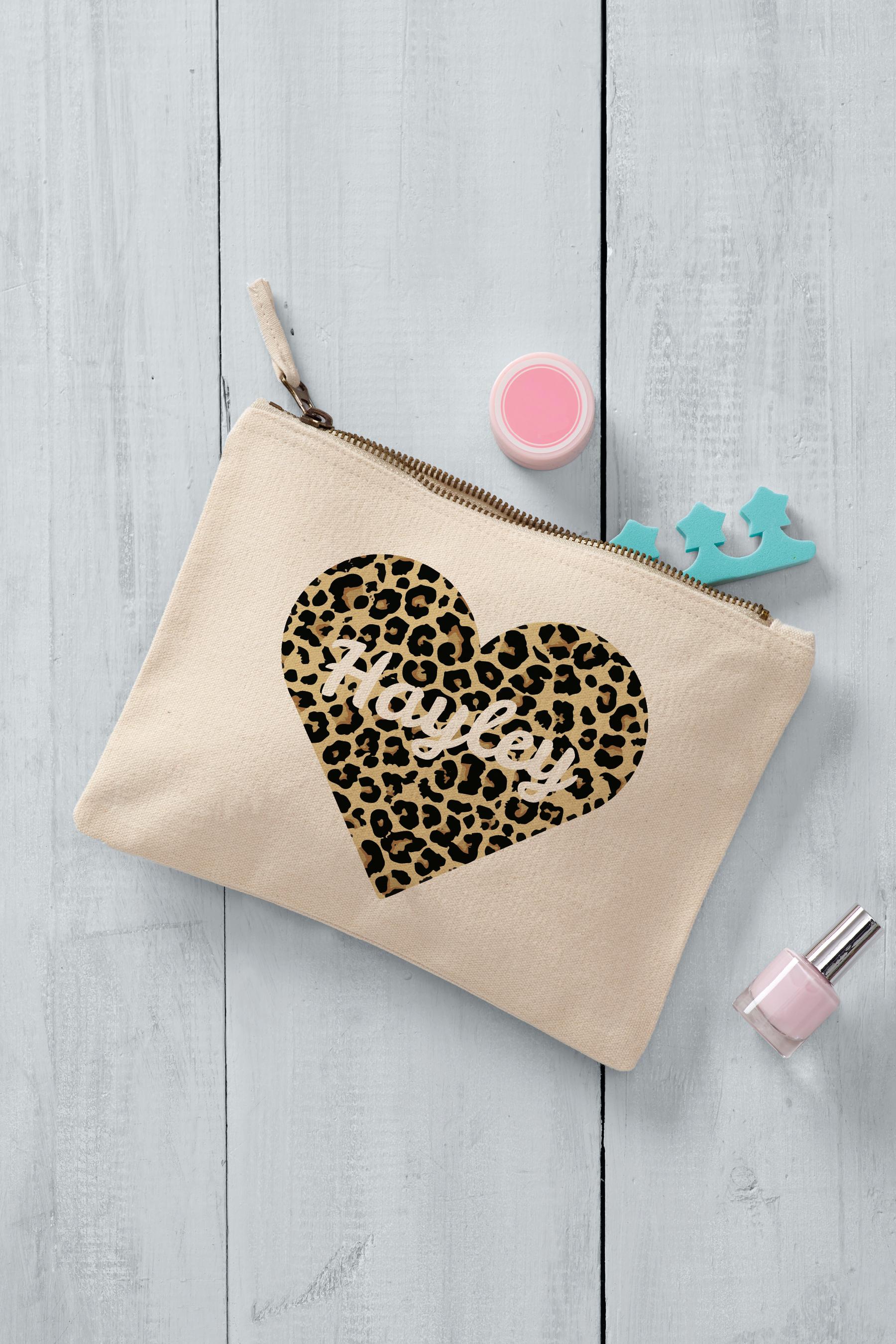 Heart Animal Print Cream Makeup Bag