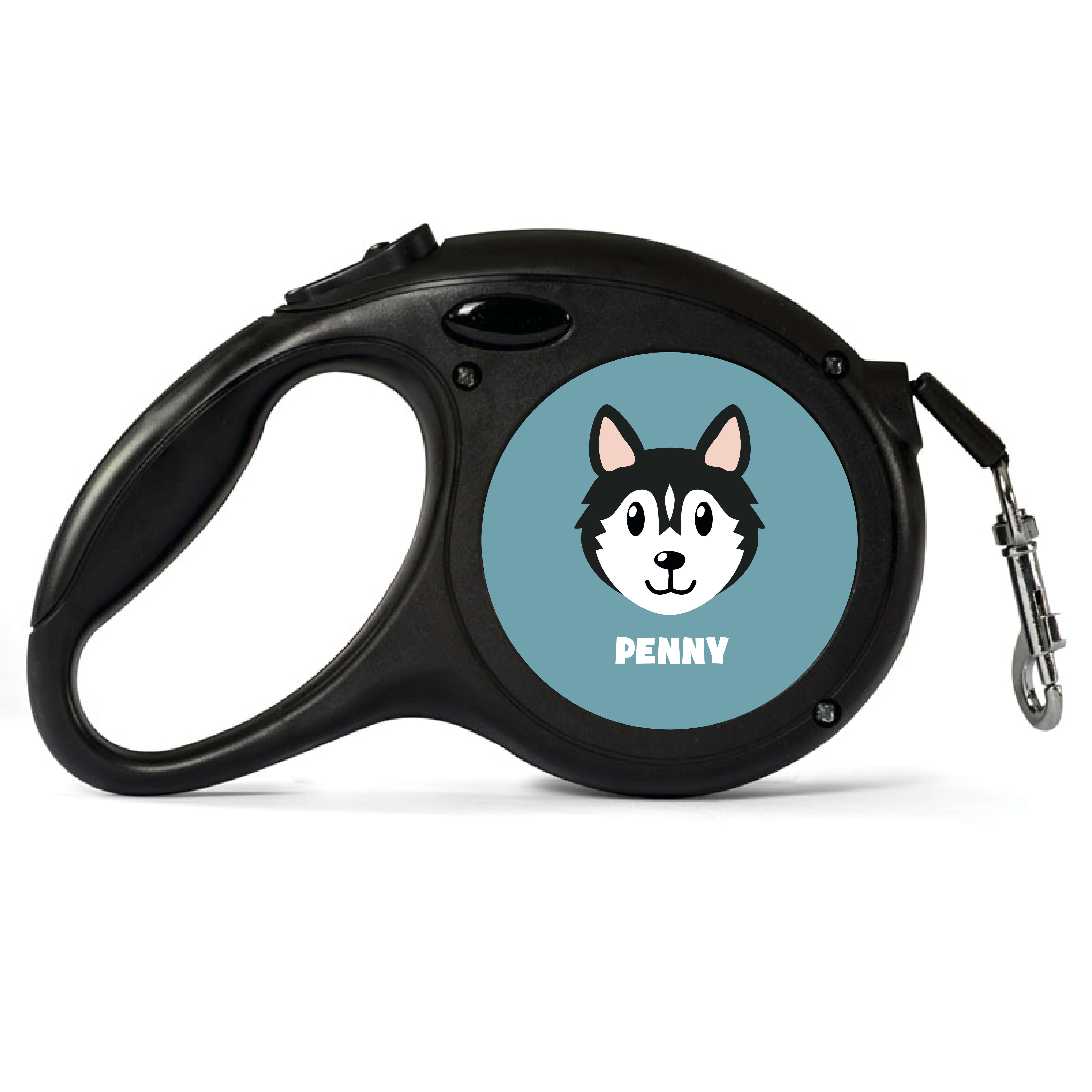 Personalised Black Husky Retractable Dog Lead - Small