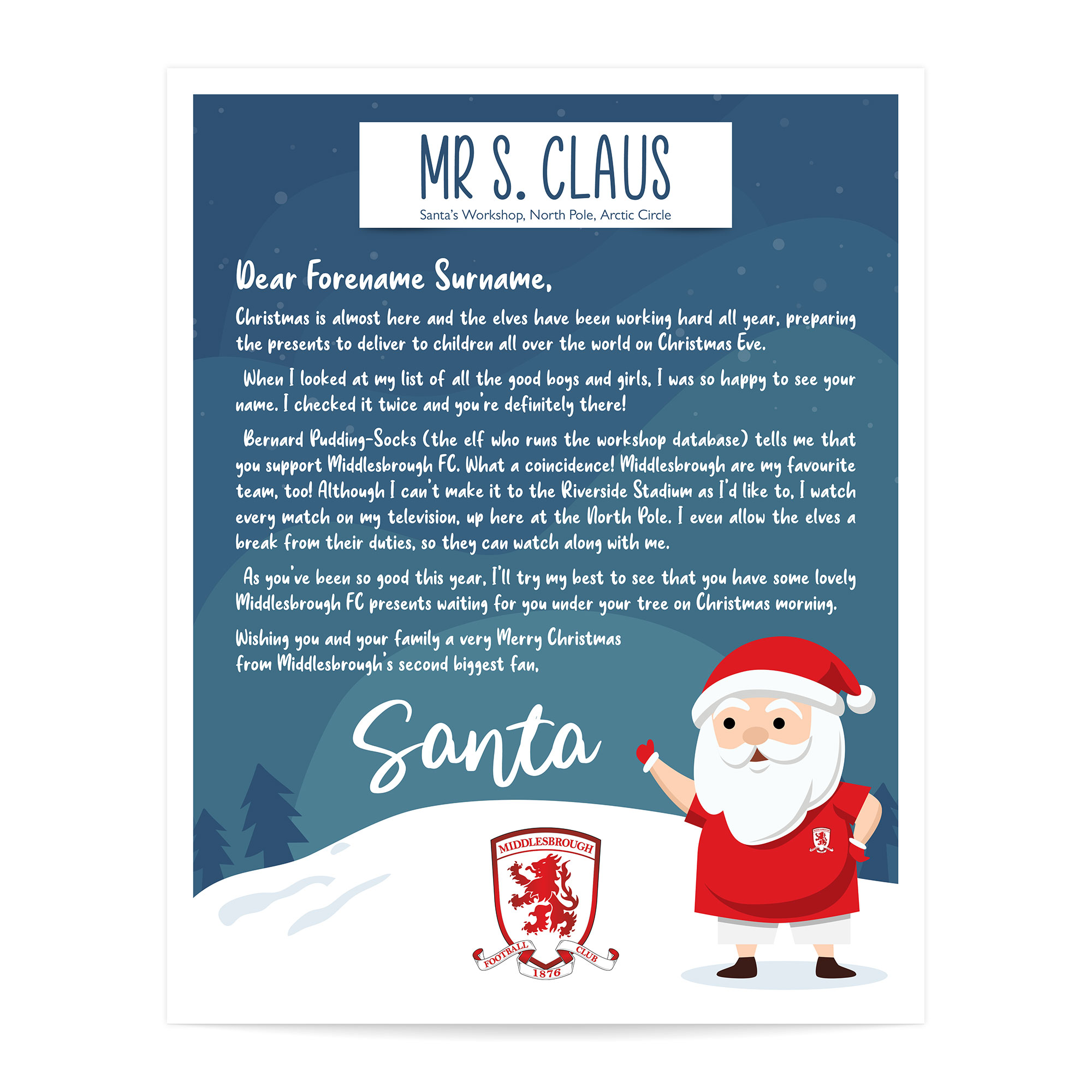 Middlesbrough FC Personalised Letter from Santa