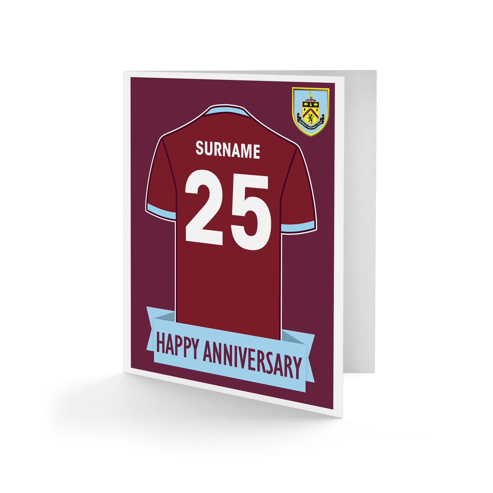Burnley FC Shirt Anniversary Card