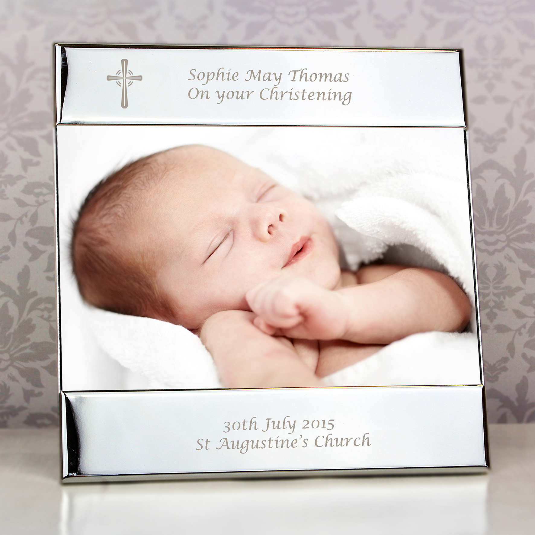 Engraved Cross Photo Frame