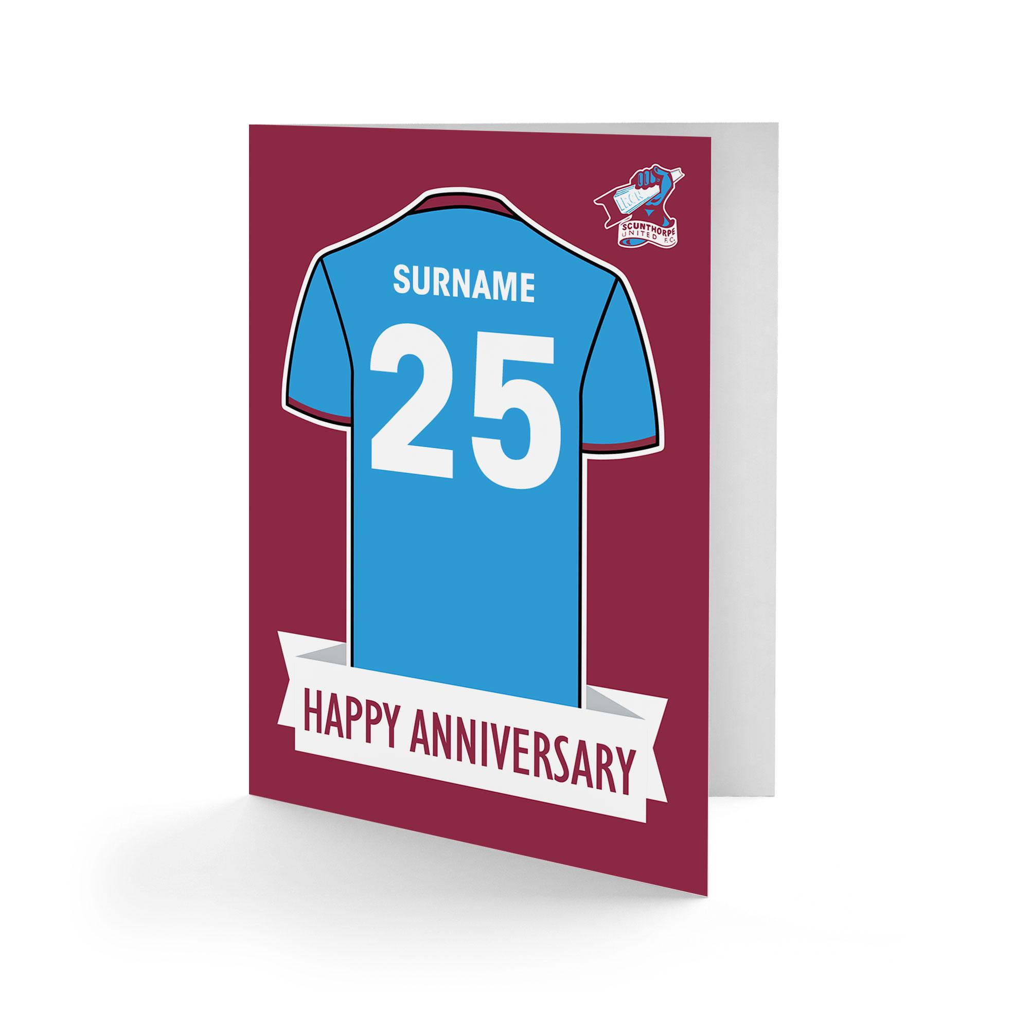 Scunthorpe United FC Shirt Anniversary Card