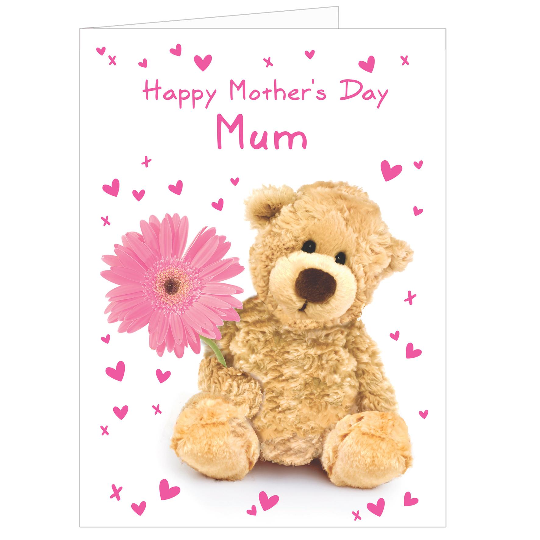 Personalised Teddy Flower Card