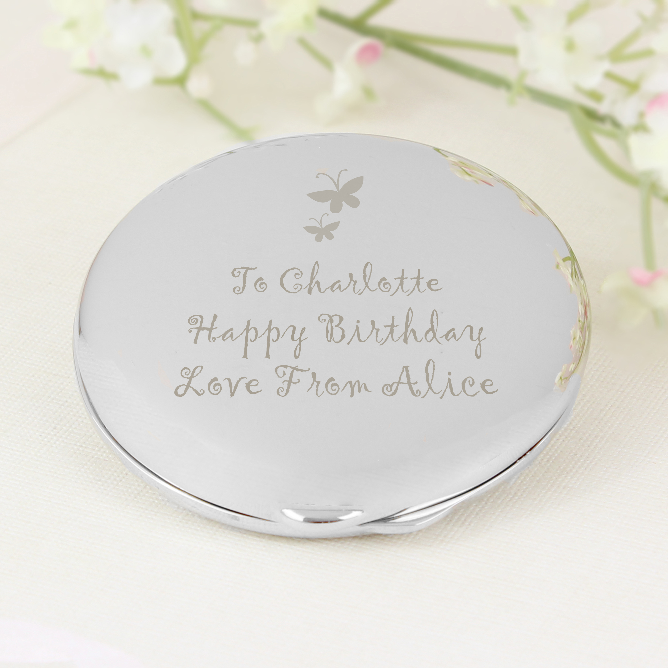 Engraved Round Compact with Butterfly Motif
