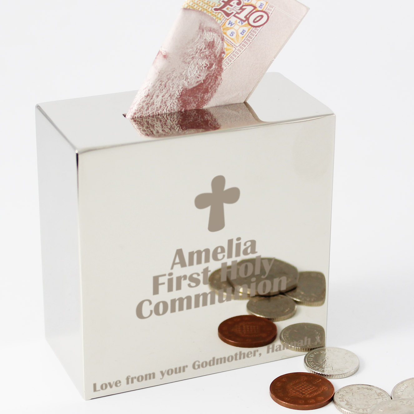 Engraved Cross Square Money Box