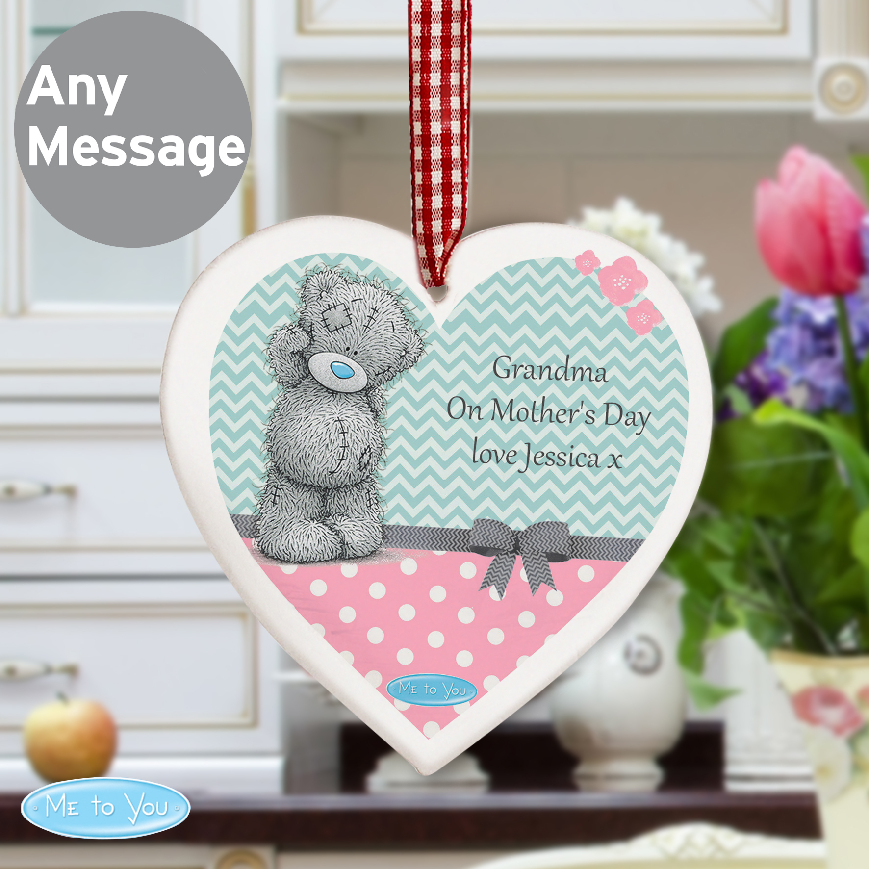 Personalised Me To You Pastel Belle Wooden Heart Decoration