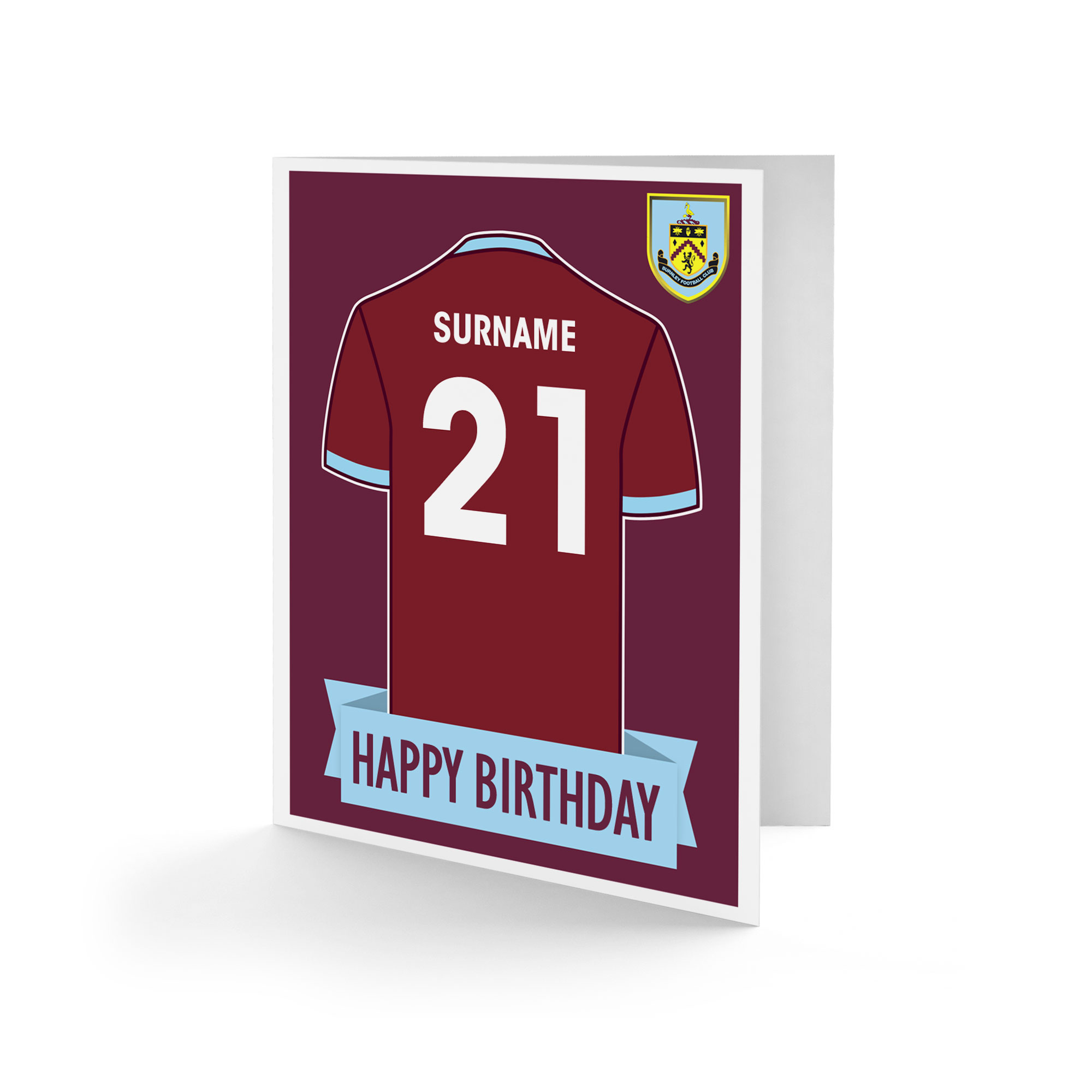 Burnley FC Shirt Birthday Card