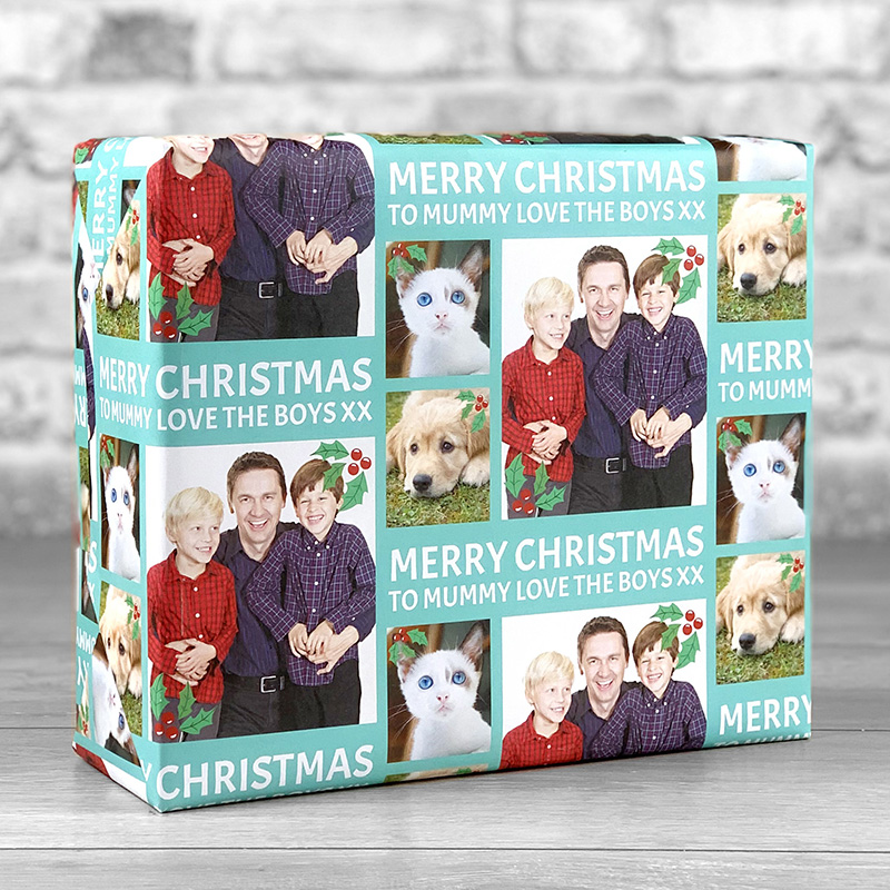 Merry Christmas Teal Gift Wrap with Personalised Message and 3 Photo Uploads