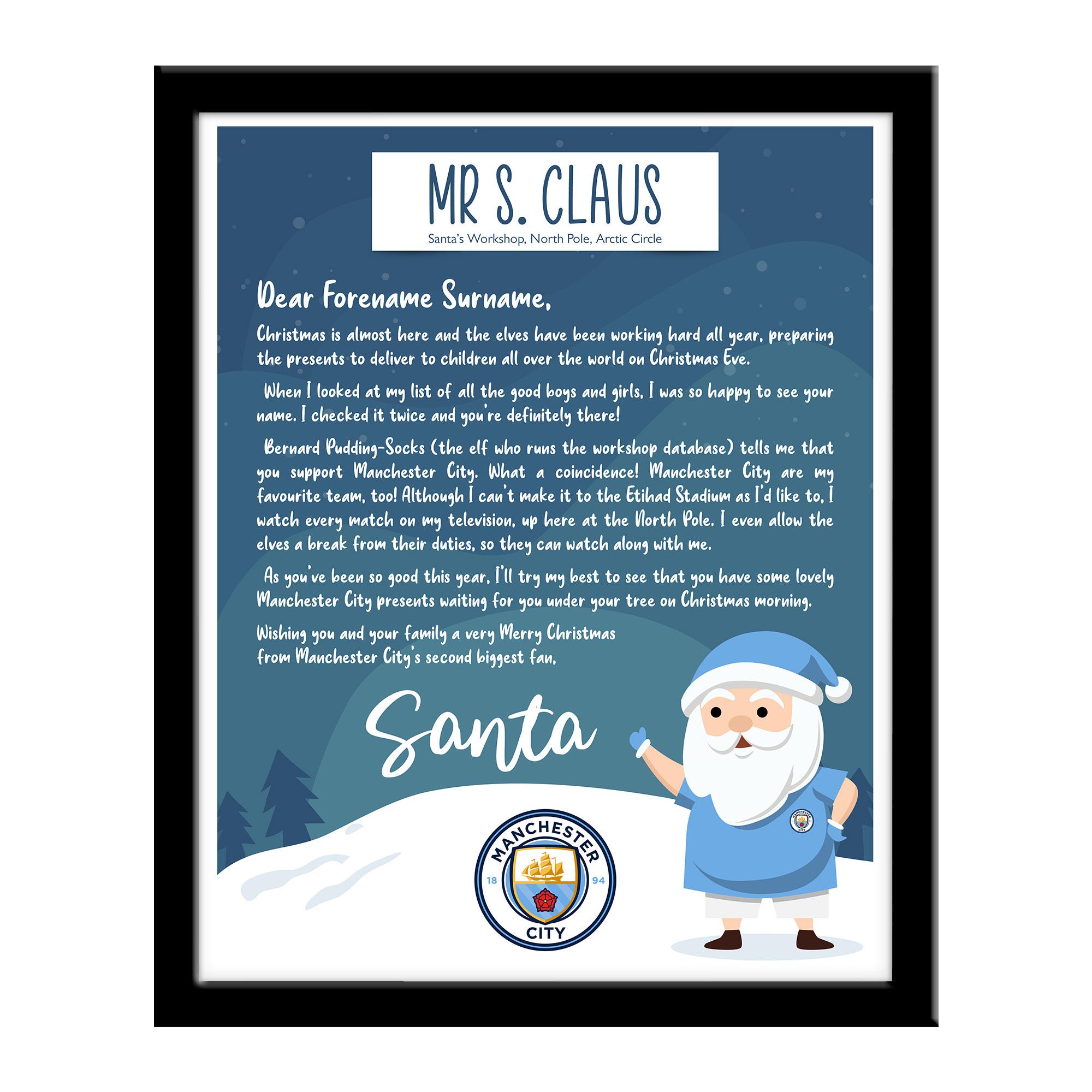 Machester City FC Letter from Santa Framed