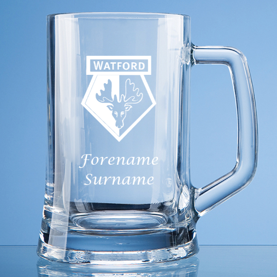 Watford FC Personalised Crest Large Straight Sided Tankard