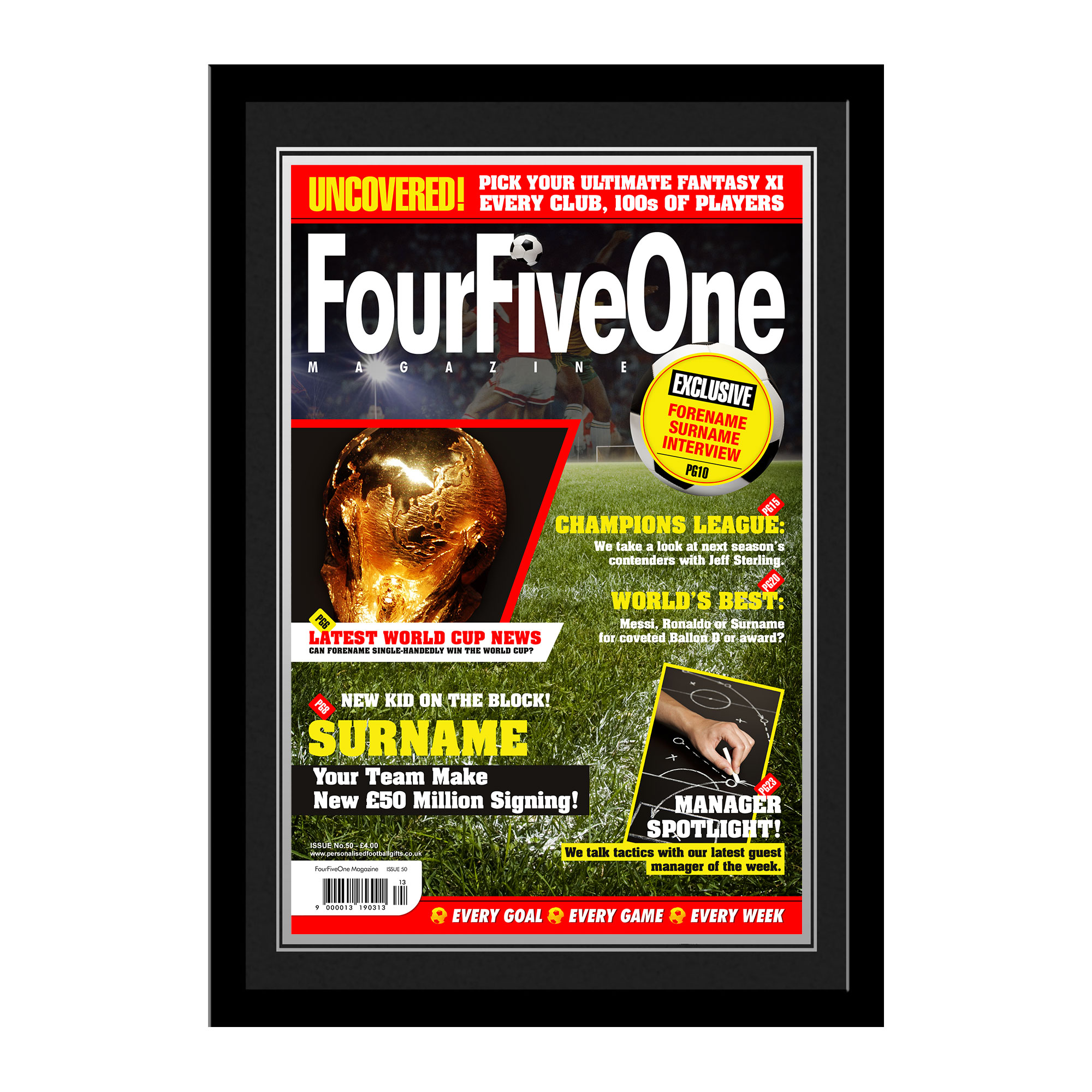 Personalised Football Magazine Front Cover - Framed