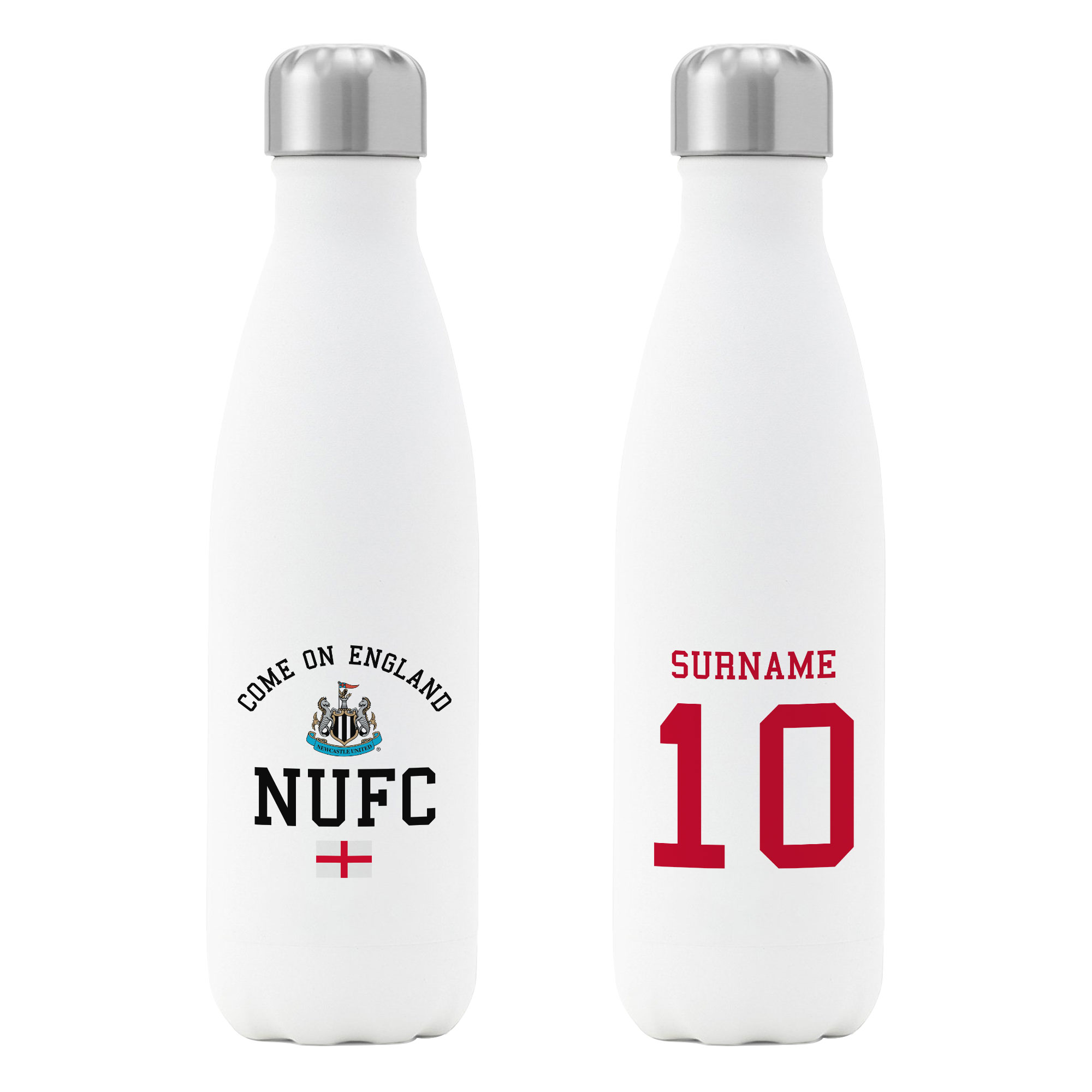 Newcastle United FC Come On England Insulated Water Bottle - White