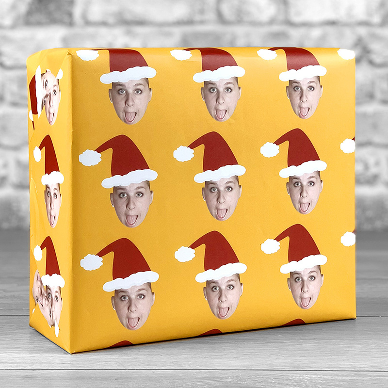 Santa Hat Orange Gift Wrap with Face Upload