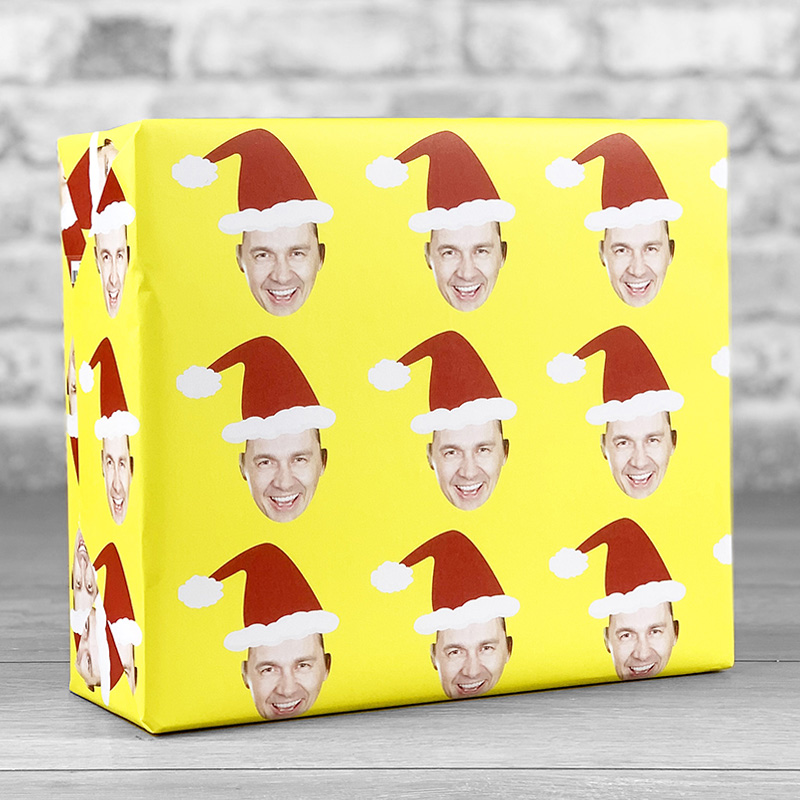 Santa Hat Yellow Gift Wrap with Face Upload
