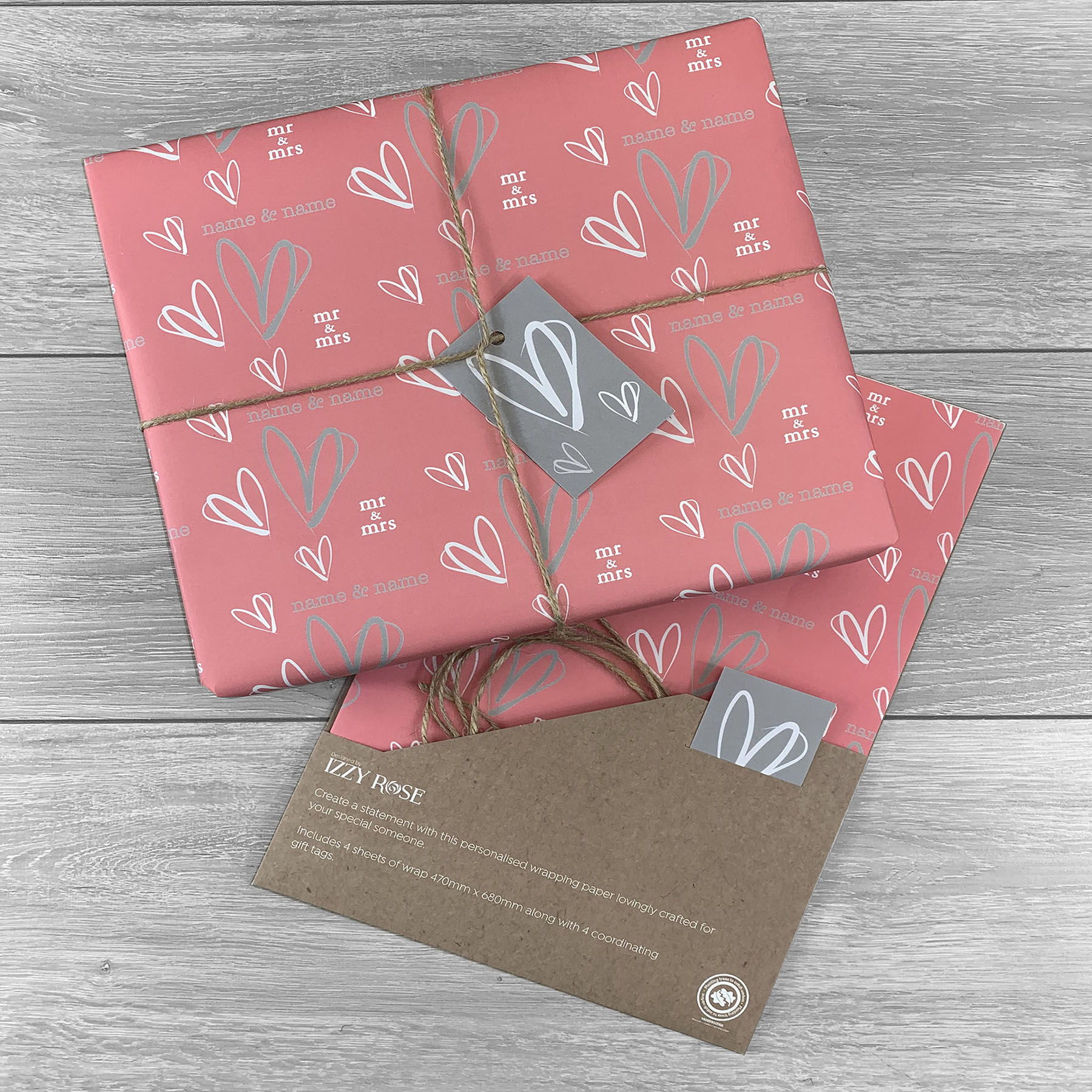 Mr & Mrs Aniversary Giftwrap - Multiple colour choices
