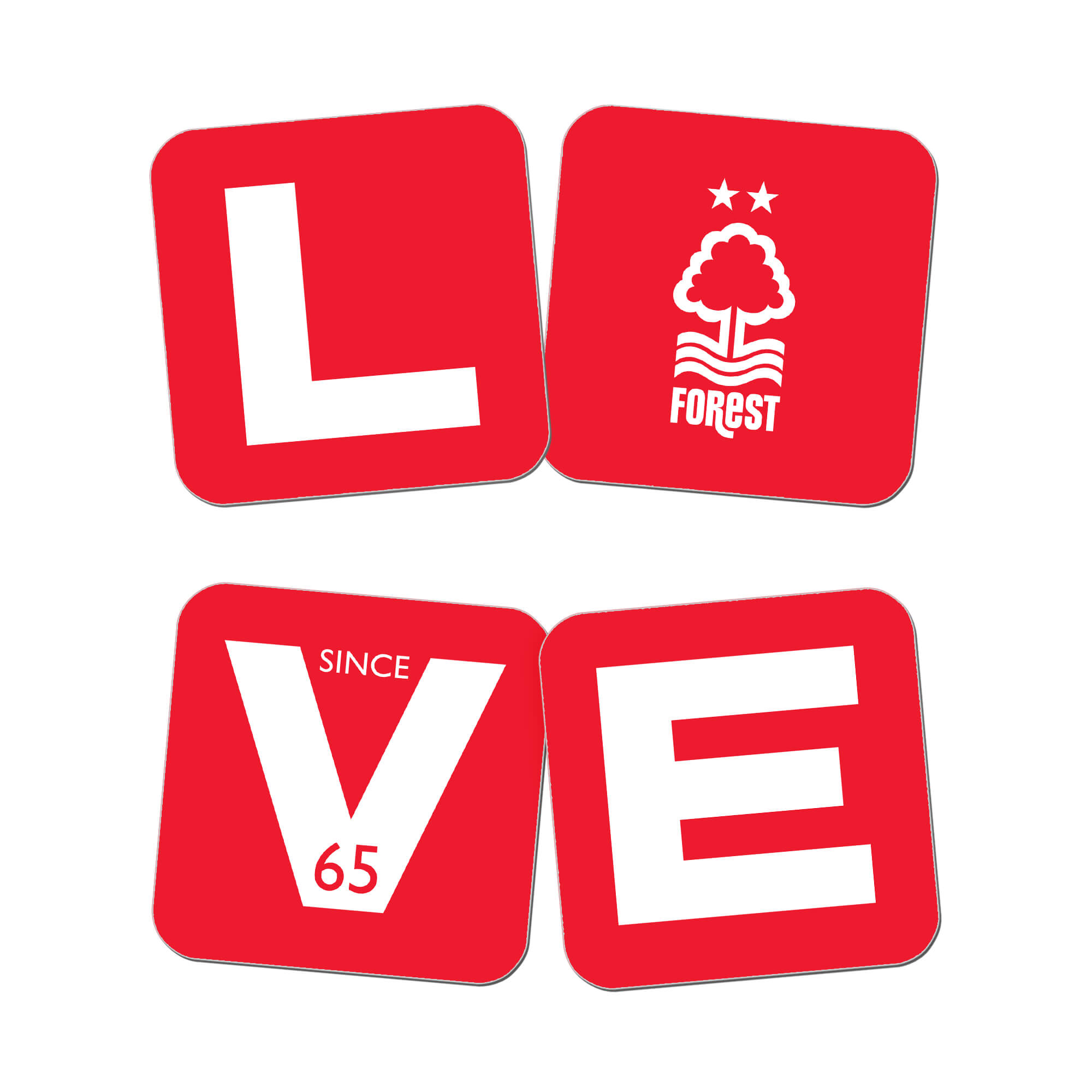 Nottingham Forest Love Coasters (x4)