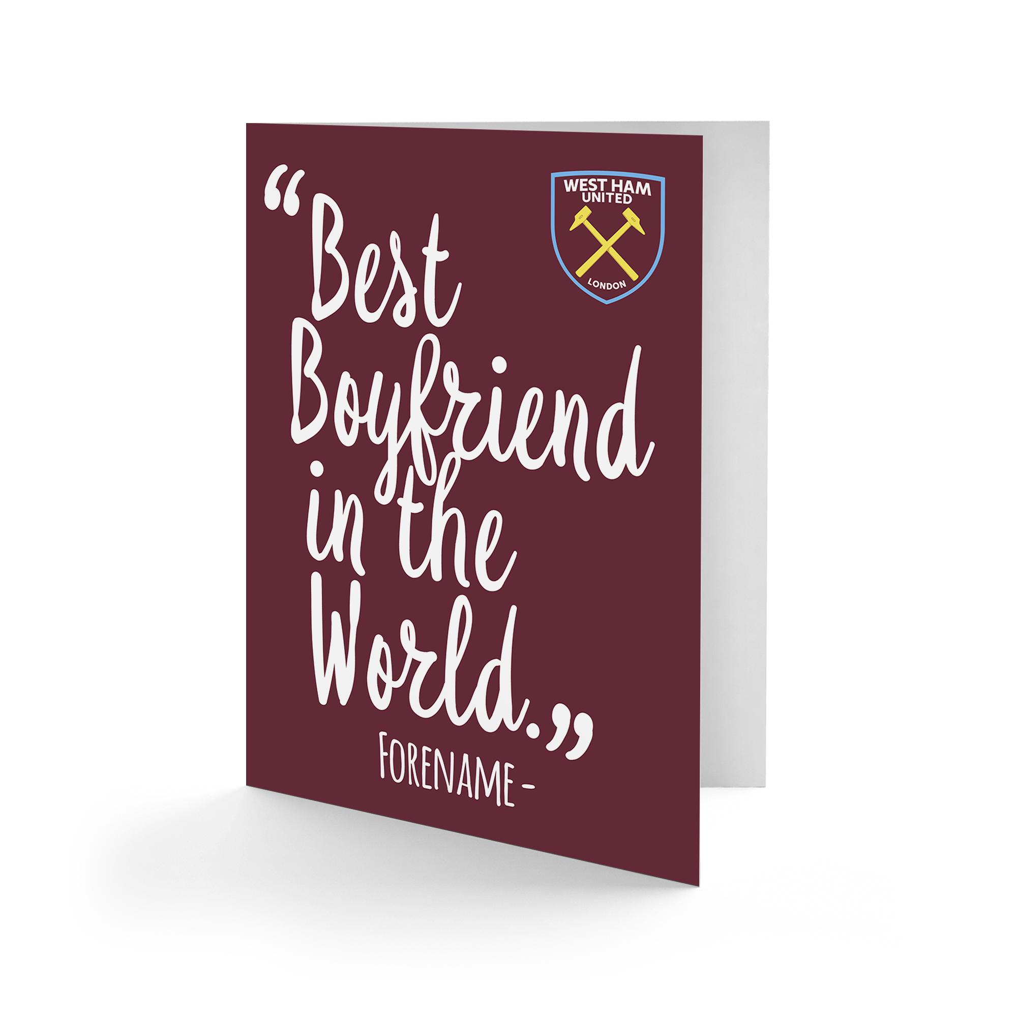 West Ham United FC Best Boyfriend In The World Card