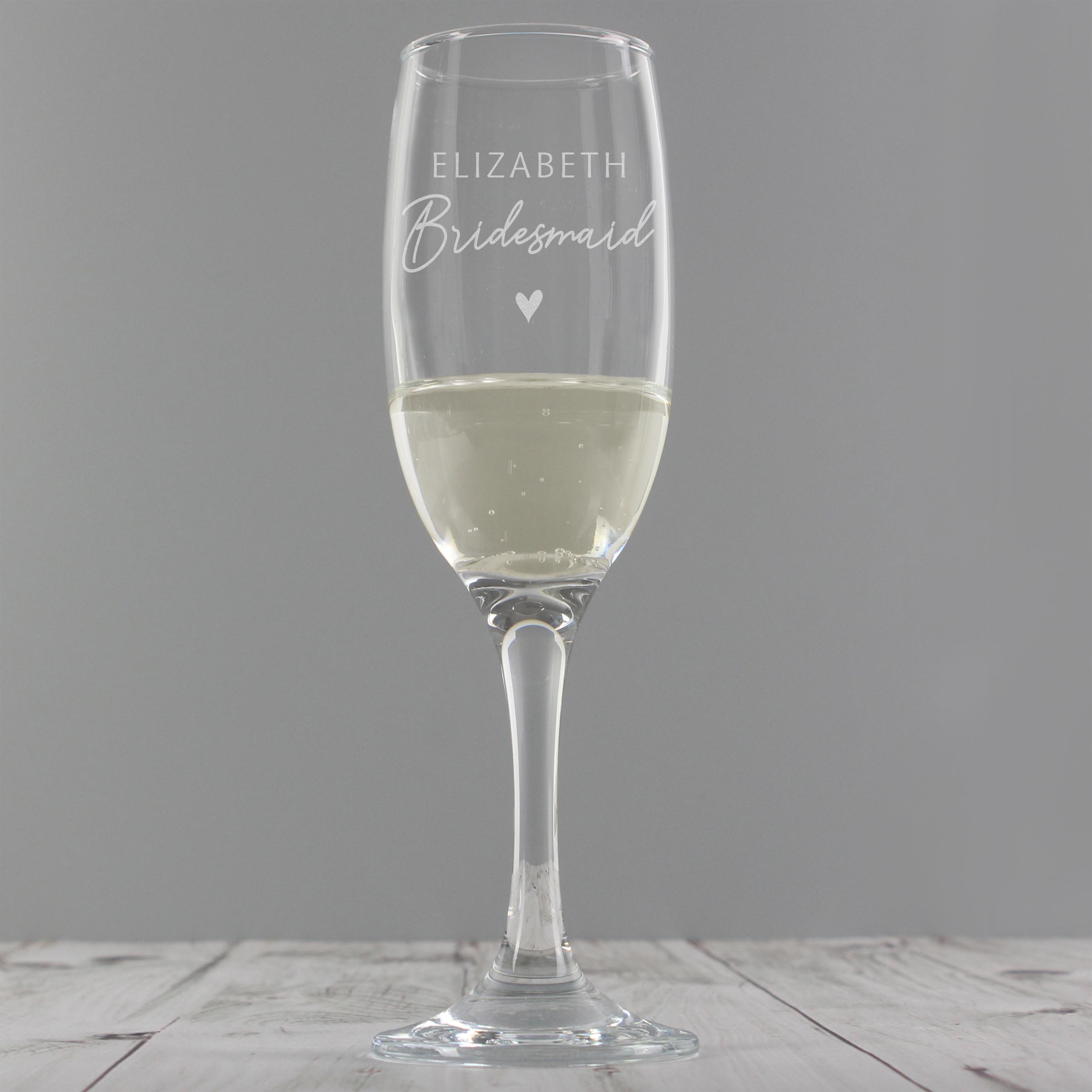 Personalised Bridesmaid Flute Glass