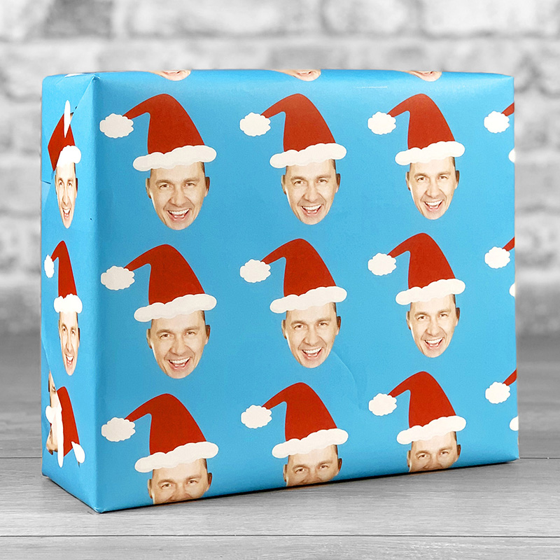 Santa Hat Blue Gift Wrap with Face Upload