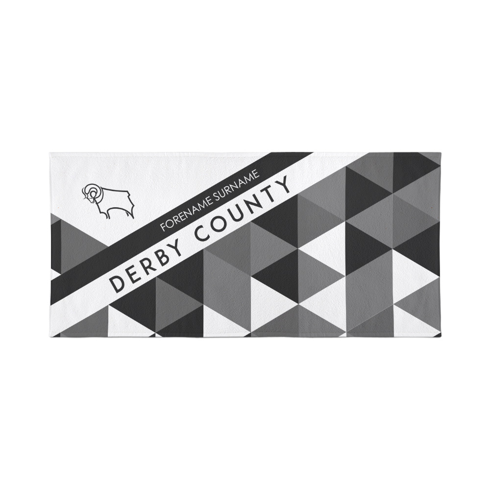 Derby County Personalised Towel  - Geometric Design - 70 x 140