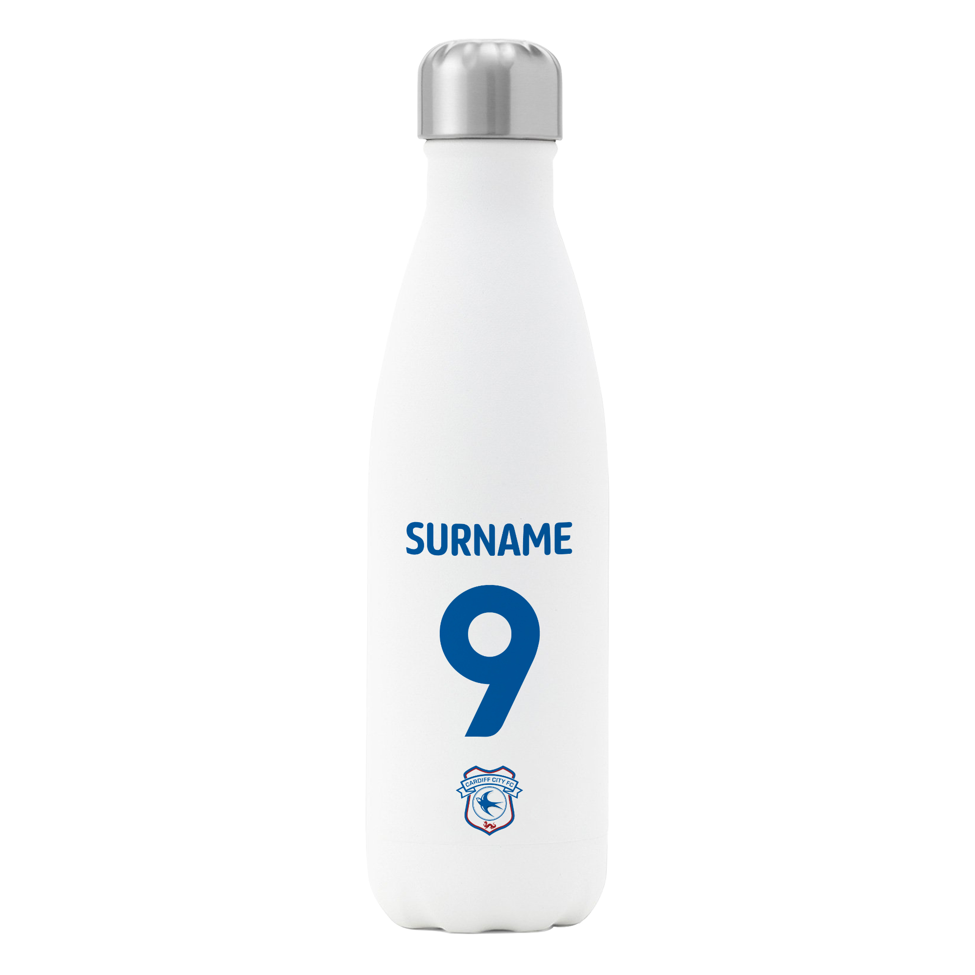 Cardiff City FC Back of Shirt Insulated Water Bottle - White