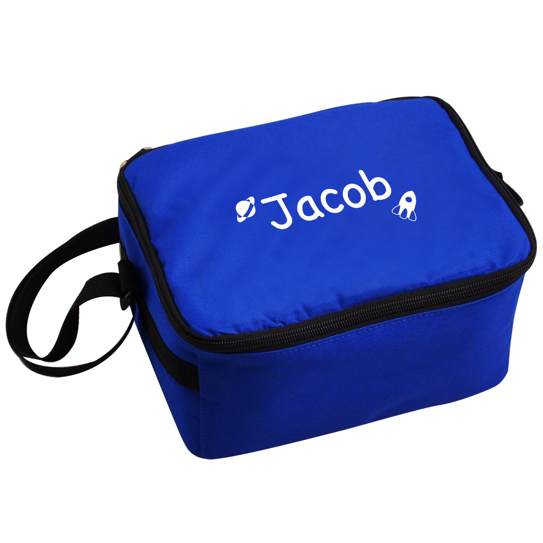 Personalised Blue Lunch Bag with Rockets