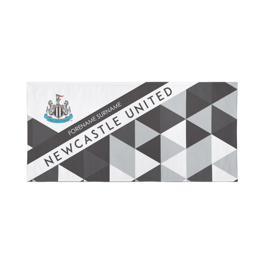 Newcastle United Personalised Towel  - Geometric Design - 80 x 160