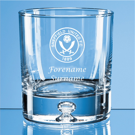 Sheffield United Personalised Crest Bubble Base Whisky Tumbler