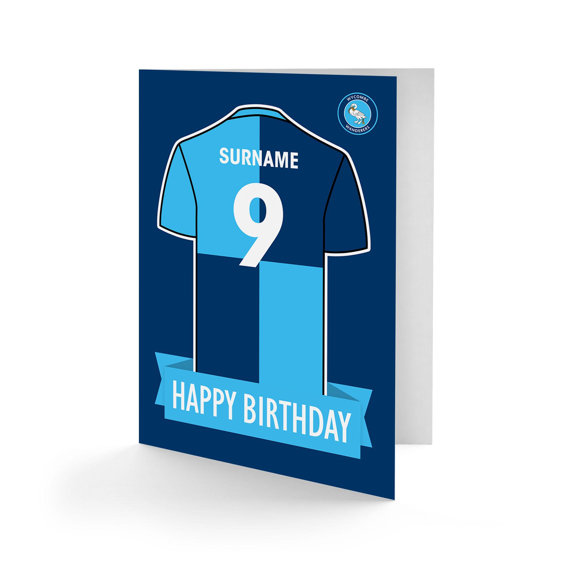 Wycombe Wanderers Shirt Birthday Card
