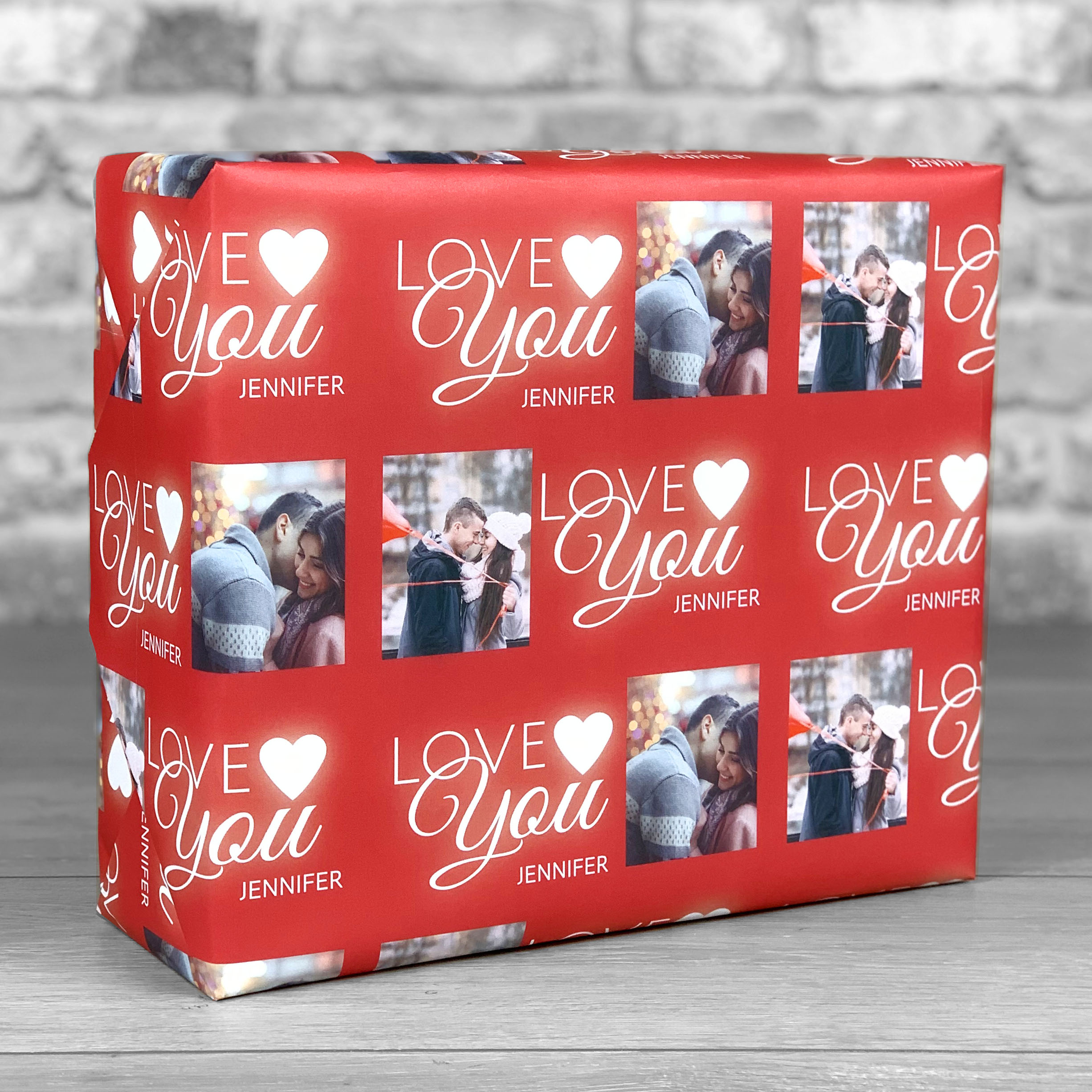 Love You Red Gift Wrap with Photo Upload