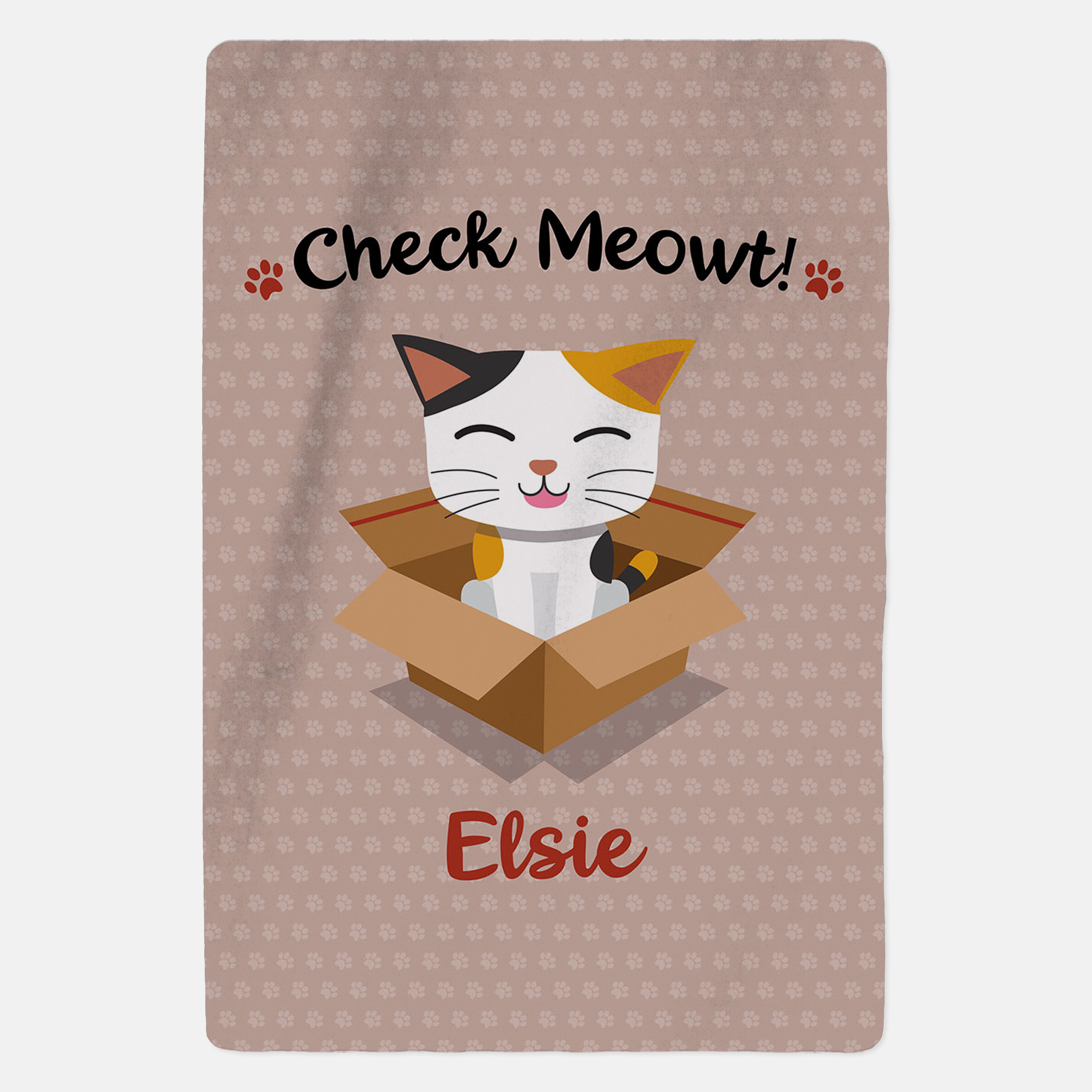 Personalised Tabby Cat Blanket - Check Meowt - Pink