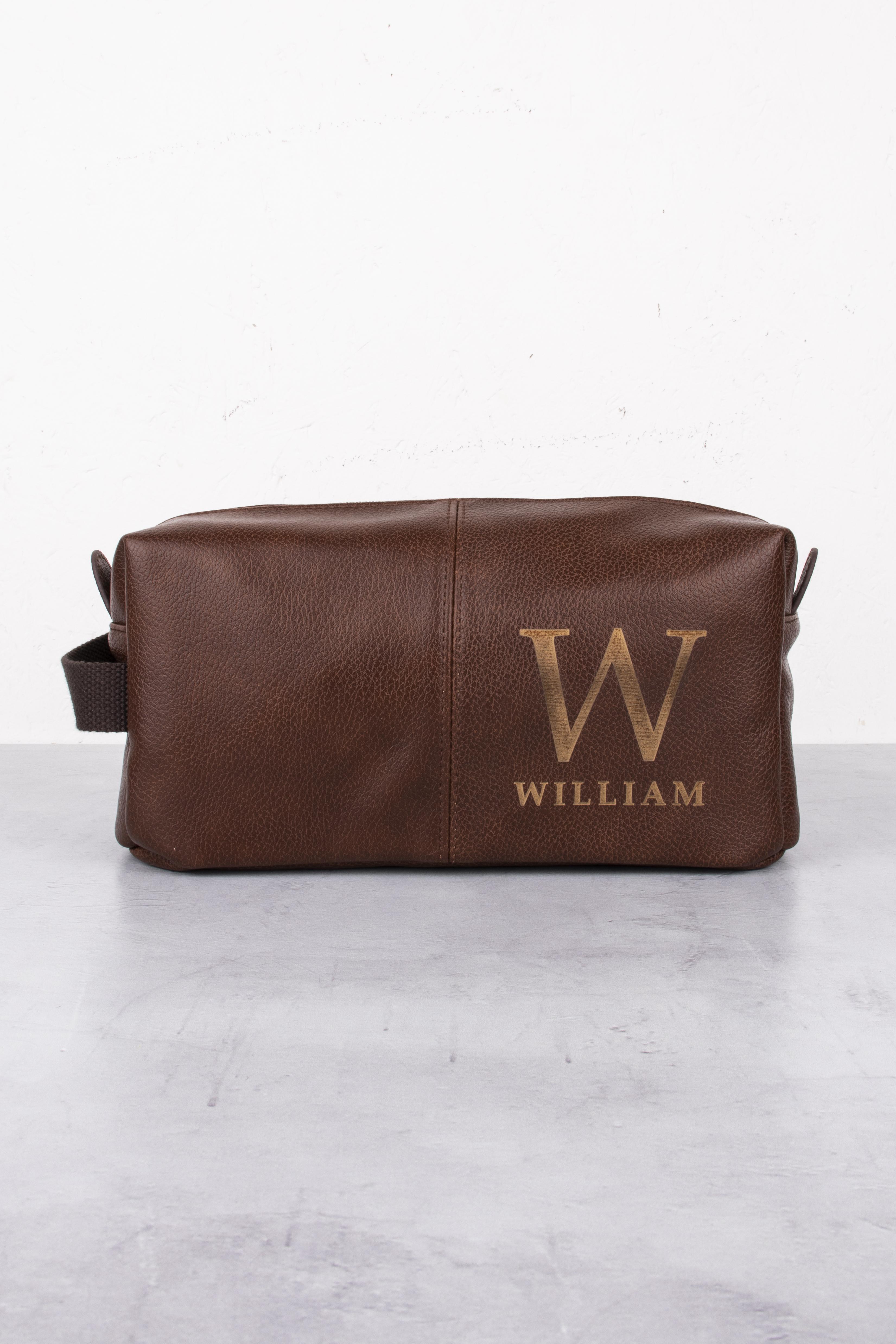 Brown Initial Wash Bag