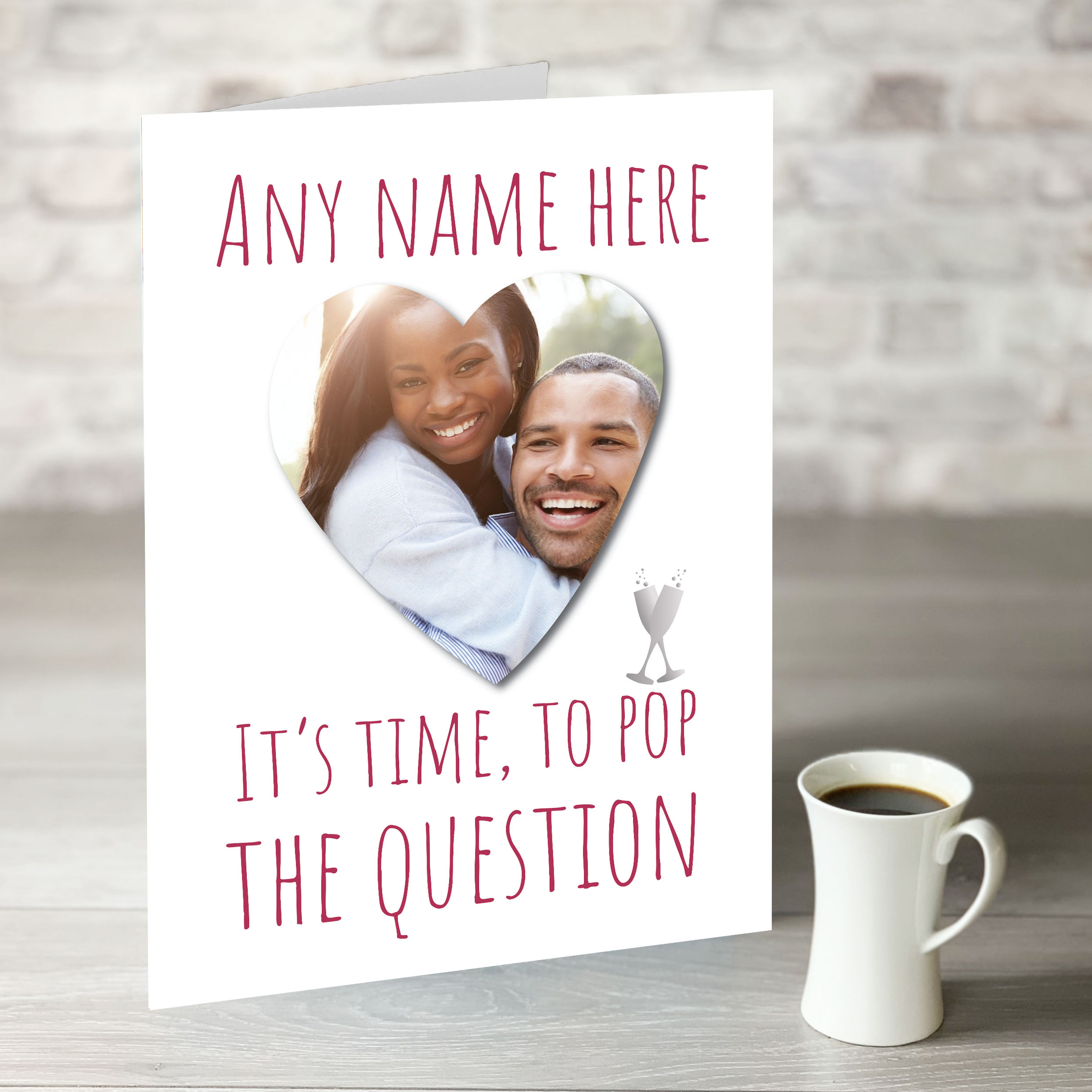 XL Pop The Question Card with Heart Shape Photo Upload