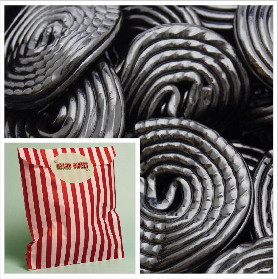 Liquorice Wheels Sweet Bag