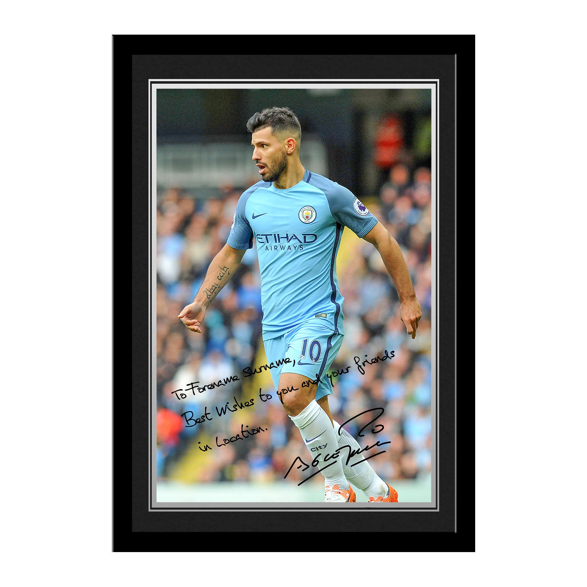 Manchester City FC Aguero Autograph Photo Framed