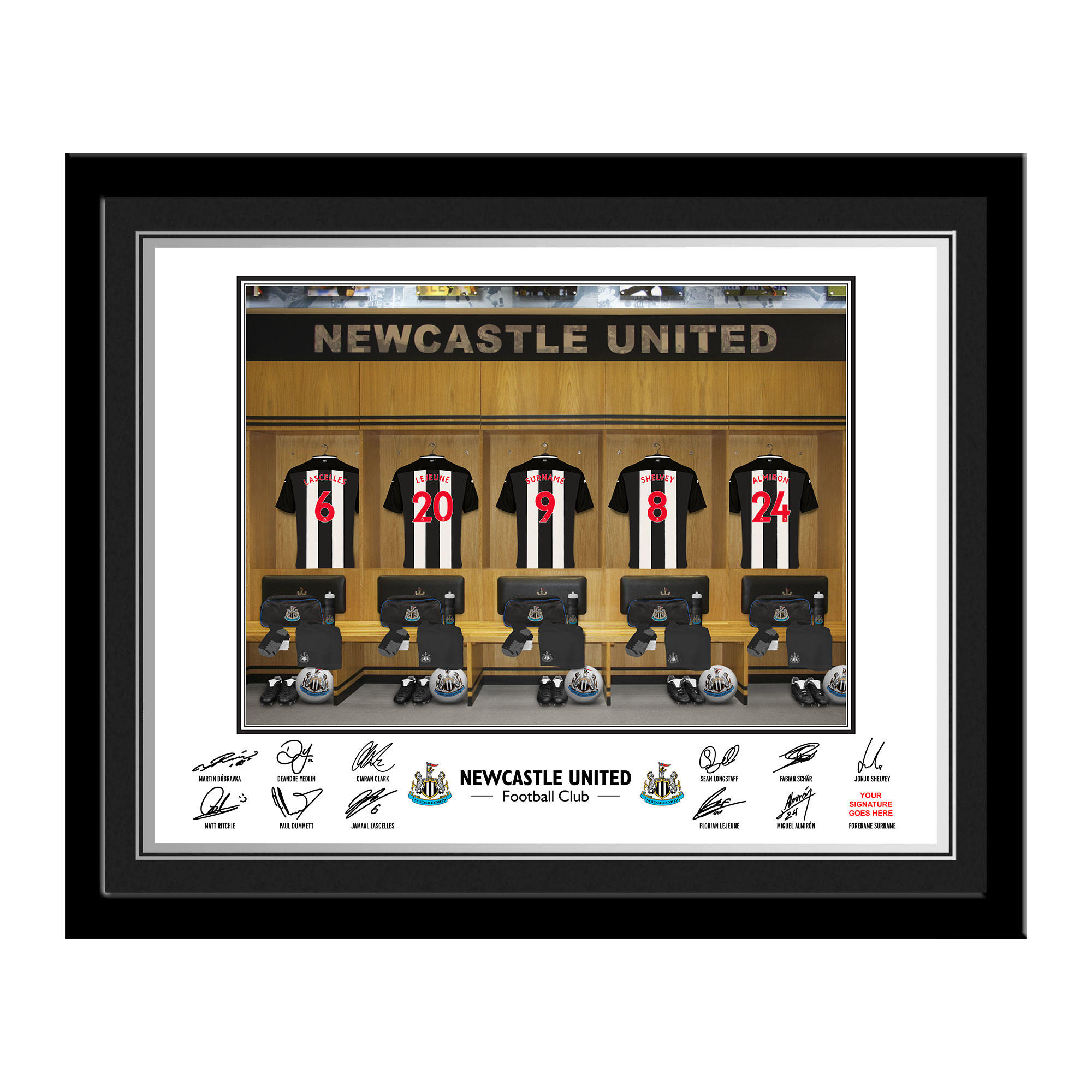 Newcastle United FC Dressing Room Photo Framed