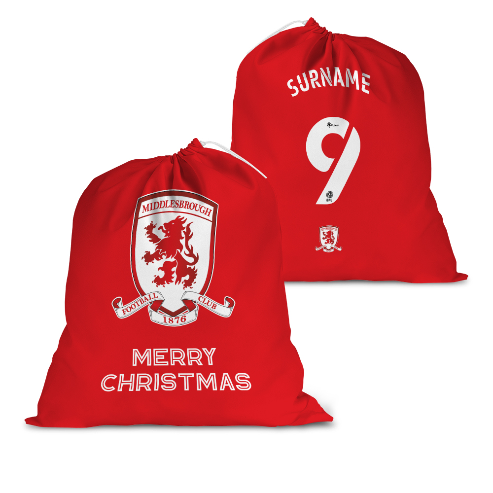 Middlesbrough FC Back of Shirt Santa Sack